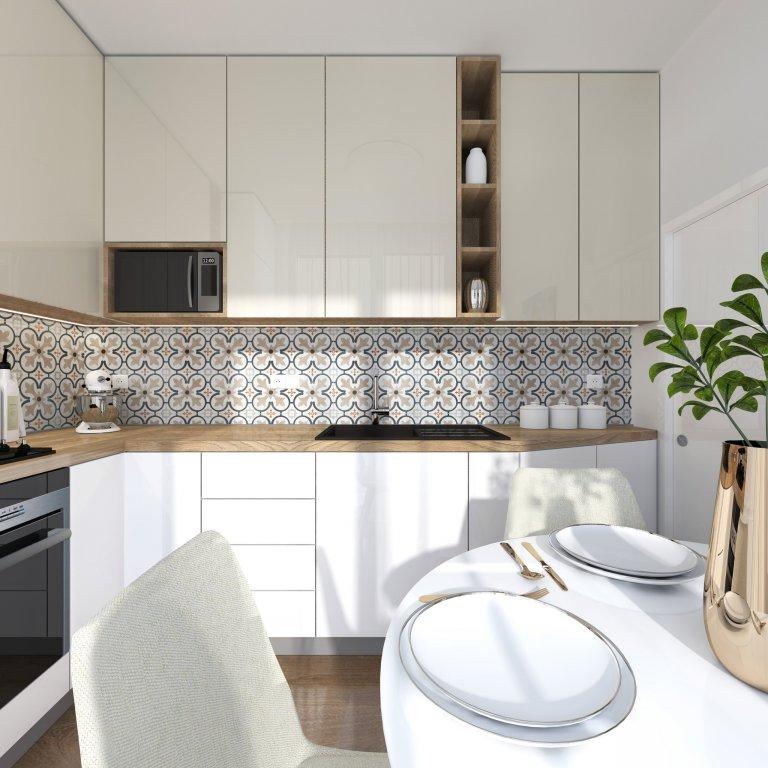 Málá kuchynka o priestore 6 m2 až neuveriteľné čo všetko sa dá zmestiť vkusne do zmenšených priestorov. Výsledkom je dosť úložného priestoru ale aj na varenie…