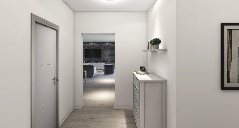 Moderní bungalov o dispozicích 5+kk s velkou terasou a saunou. Dominantou je prostorný obývací pokoj s kuchyňským koutem s velkou prosklenou plochou (HS portál…