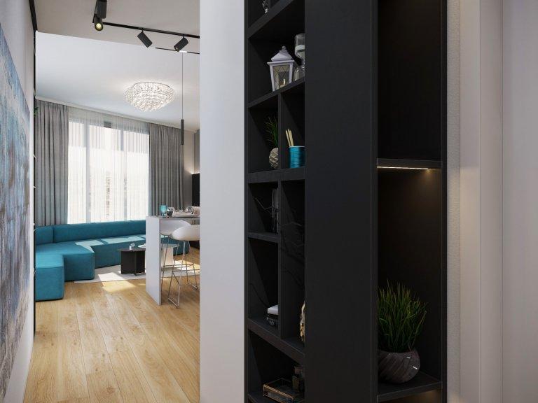 Kuchyňa s obývačkou v SKY PARKU , stavba navrhnutá ZAHA HADID.  interiér pre aktívného klienta s dominanciou minimalistického prevedenia s výraznou…