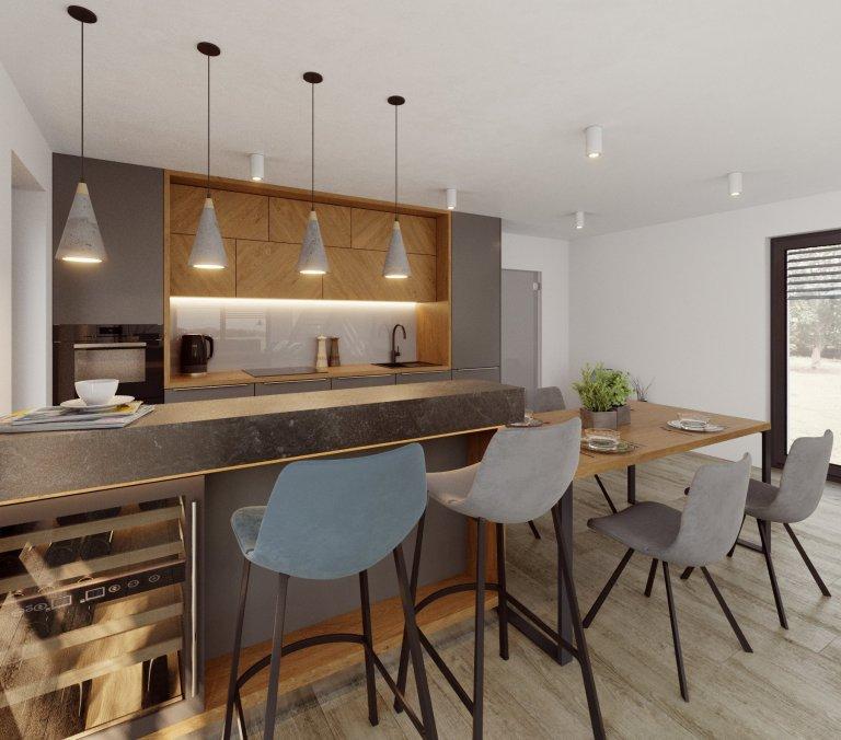 Hlavní obytný prostor je srdce domova, právě proto jej s klienty tvoříme nejčastěji. Tento je v domě na malé vesnici, s klasickou sedlovou střechou, zvenku…