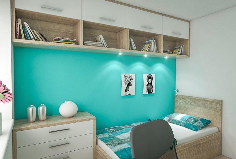Studentský pokoj v tyrkysové barvě