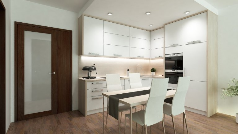 """Moderní bílá kuchyně s dubovou dřevěnou deskou a zády ve tvaru do """"L"""""""