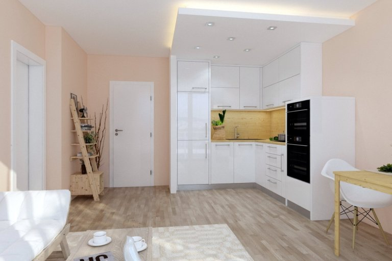 Světlý interiér ve spojení s moderní kuchyní působí velice lehce a vzdušně. Prostor tvoří  tři na sebe navazující  funkční zóny  - kuchyňský kout, jídelní prostor a obývací část.