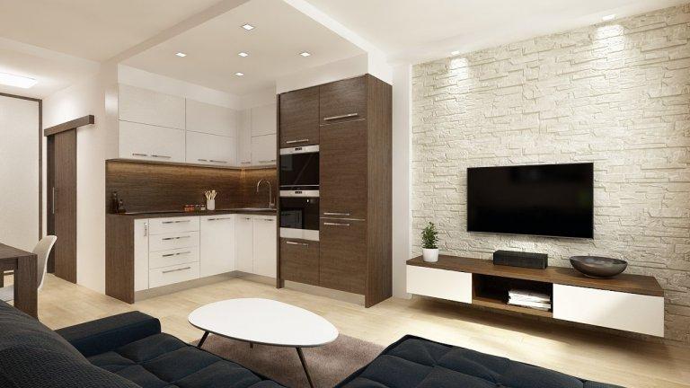 Byt se skládá zložnice a obývacího prostoru. V hlavním obývacím prostoru na sebe navazují tři funkční zóny - kuchyňský kout, jídelní prostor a…