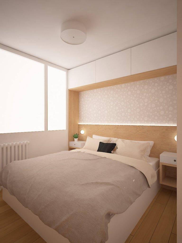 Rekonstrukce panelového bytu v Praze. Ze stávající díspozice 1+KK jsme přidáním ložnice vytvořili 2+KK. Obývací pokoj je ve výsledku malý, ale pro 1-2 osoby…