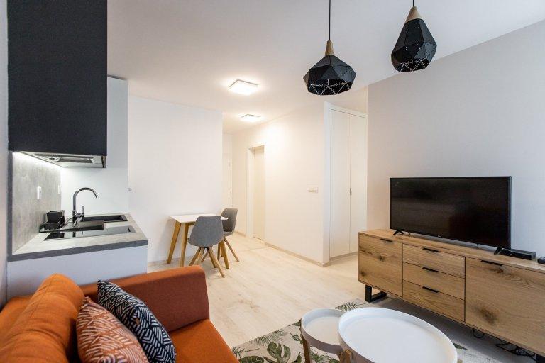 Jednoizbový byt v Malých Krasňanoch - vkusne zariadená obývacia časť s kuchyňou. V spacej časti sme zhotovili vstavané skrine v bielej farbe aby čo najviac…