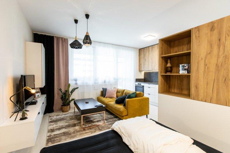Apartmán v developerskom projekte Malé Krasňany, ktorý poníma obývaciu izbu, spálňu, aj kuchyňu v jednom priestore, no napriek tomu je táto realizácia krásna a…