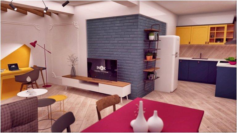 Snažili sme sa vytvoriť farebne pestrý interiér, plný hravých a zaujímavých detailov, ktoré Vás ako dúfame milo prekvapia ( šikmo uložená podlaha, lampa…
