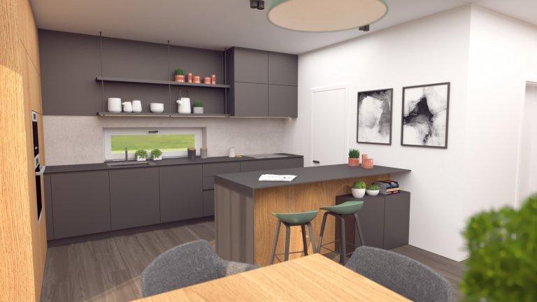 Predstavujeme Vám návrh rodinného domu, v ktorom tentokrát prevláda elegantná farebná kombinácia antracitovej farby s prírodným dubovým dekorom, doplneným o…