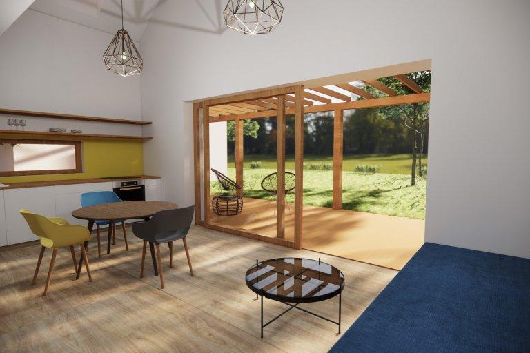 Pohled z obytného prostoru - velké posuvné okno nabízí příjemný pohled do zahrady