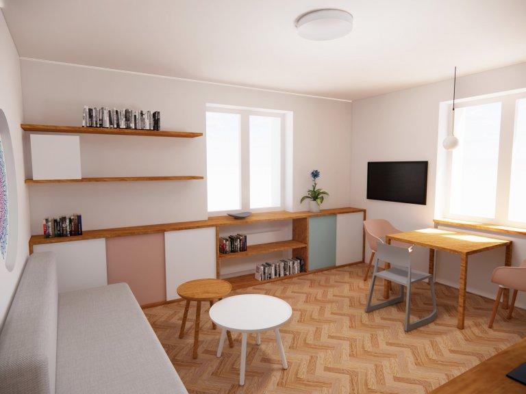 Obývací pokoj s kuchyní - zachováváme původní parkety