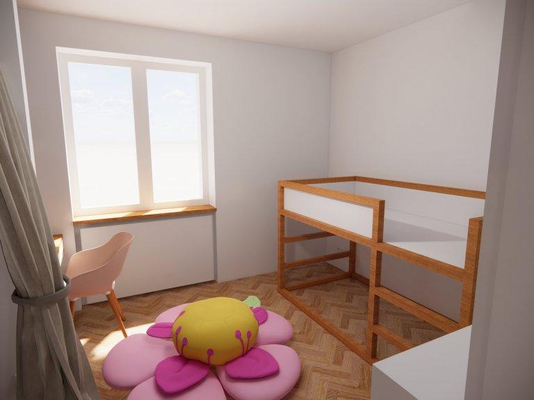 Dětský pokoj malé princezny - oboustranná postel z IKEA