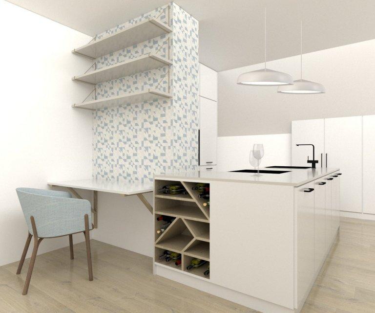 Mini kuchyně s pracovním koutem