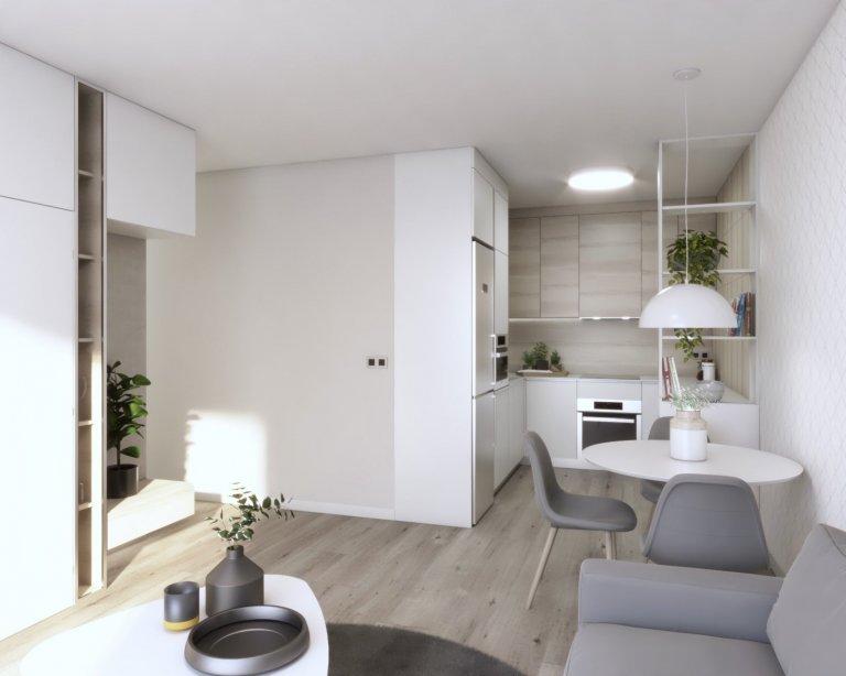 Návrh dvojizbového bytu v projekte Tammi od spoločnosti YIT. Interiér som ladila do svetlých tónov v kombinácii s drevom. Byt disponuje dostatkom úložného…