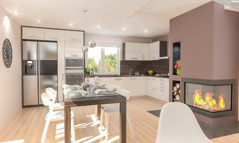 Obývací pokoj s kuchyní s krbem