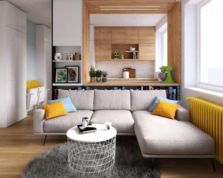 Interiér se žlutým radiátorem