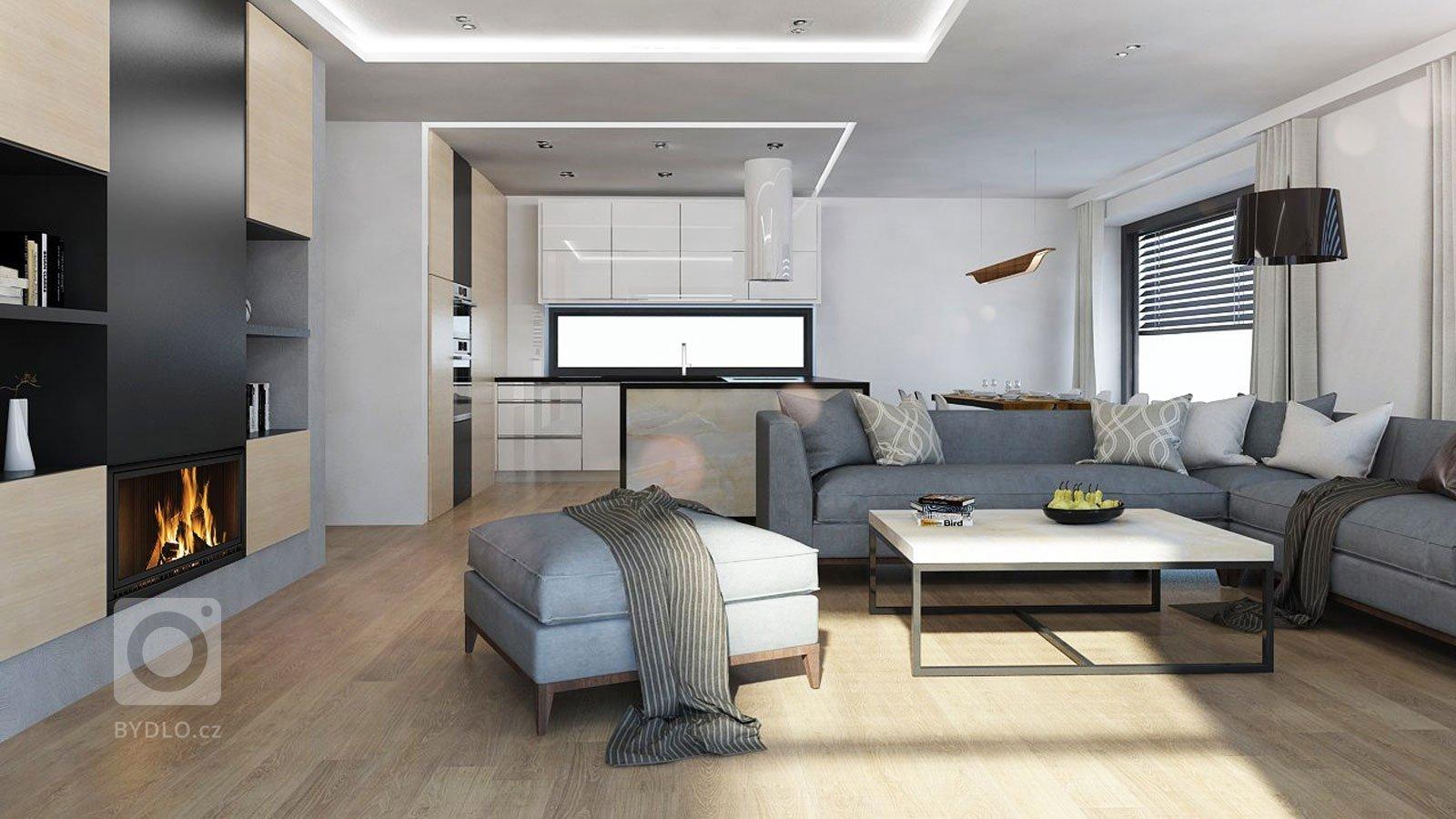 Kompletní návrh obývacího pokoje s kuchyní ajídelnouv novostavbě. Hlavním požadavkem klienta bylozapracováníonyxové stěny do interiéru.…
