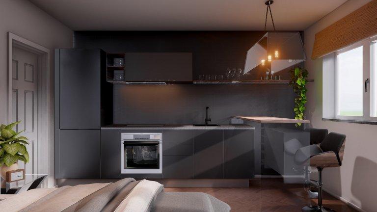Moderní a přesto klasický. Takový je návrh interiéru jednopokojového bytu v centru Prahy, určeného ke krátkodobým pronájmům. Obývací část o rozloze necelých 18…