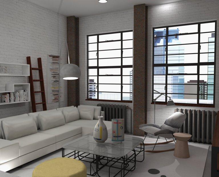 Prosvětlený industriální loft s akcenty žluté