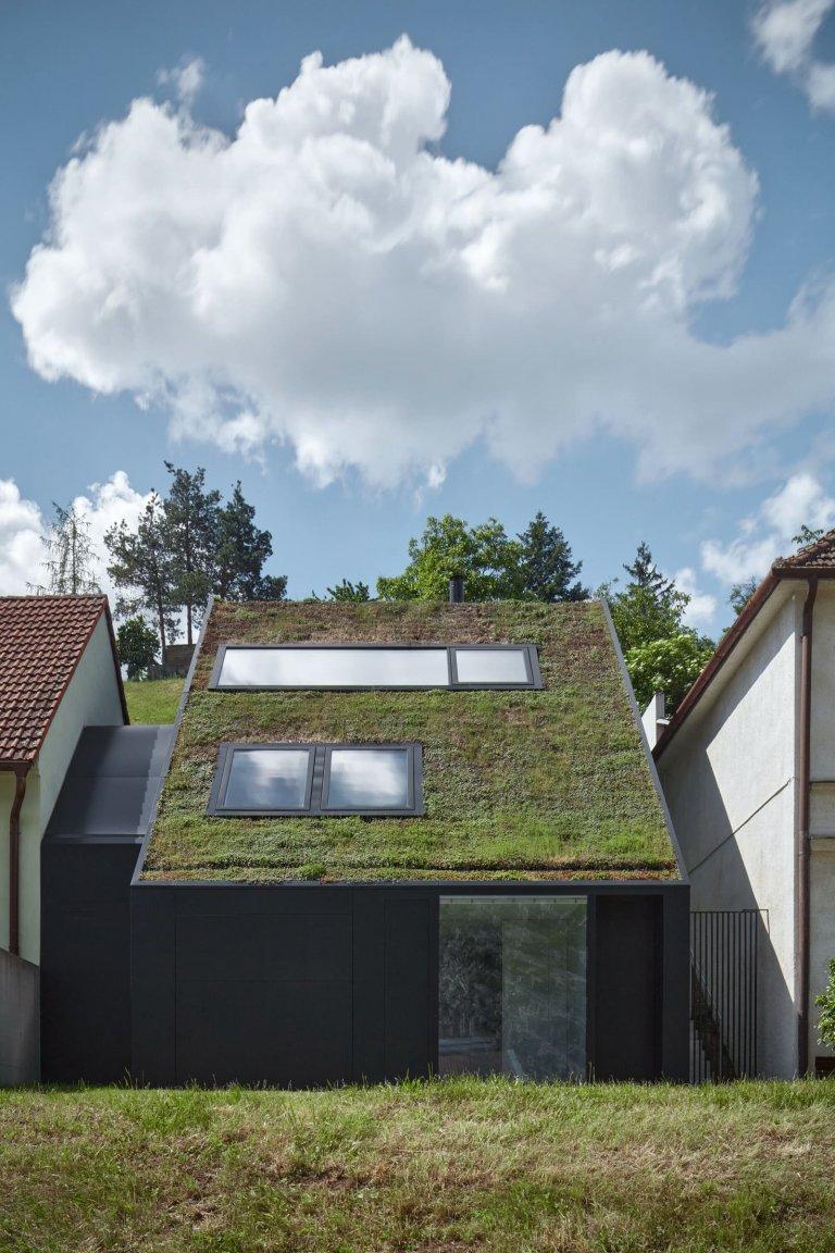 Dům se zelenou střechou v údolí řeky Dyje
