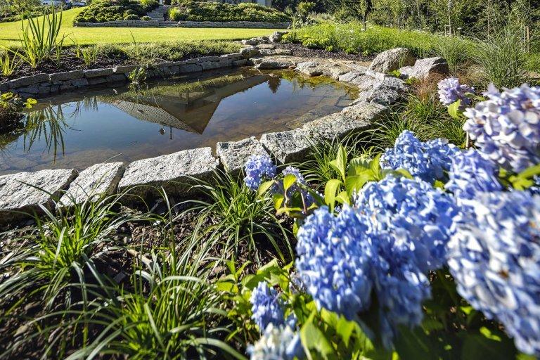 Japonská zahrada s dešťovým jezírkem
