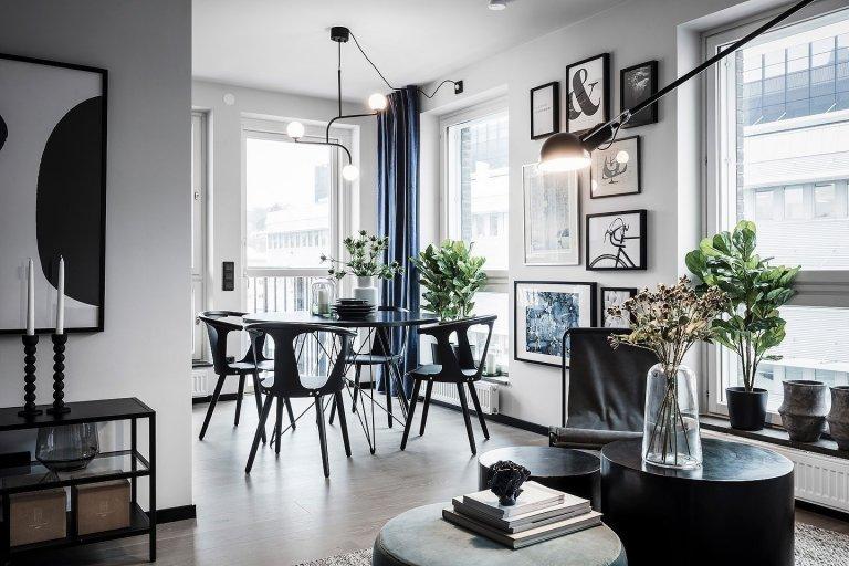 Módní černá ve skandinávském interiéru