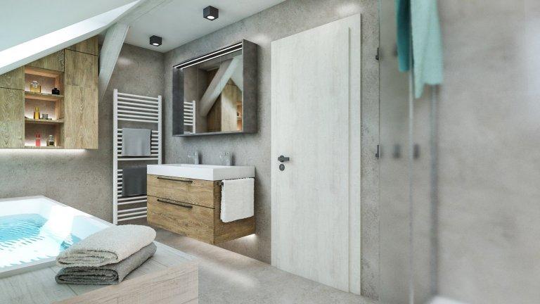Koupelna s šikminou