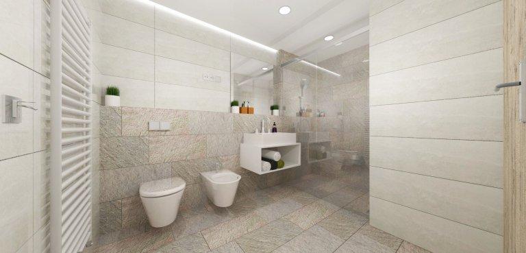 Koupelna v šedých tónech