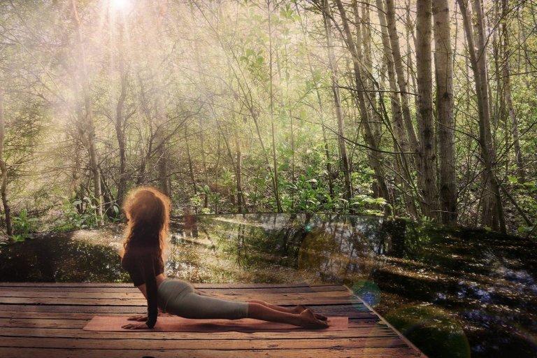 Z akátového dřeva z místních zdrojů jsou navržena  mola s nejrůznějšími funkcemi - na obrázku meditační molo za vycházejícího slunce..