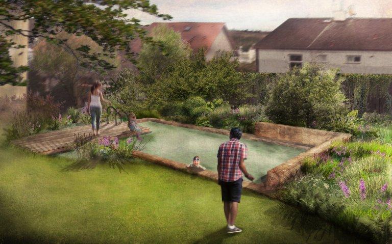 VIzualizace 2: Moderní a elegantní řešení bio bazénu orámovaného masivními dubovými trámy.