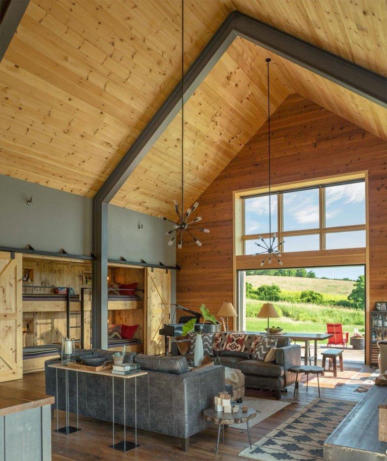 Malá a útulná moderní stodola ve Vermontu