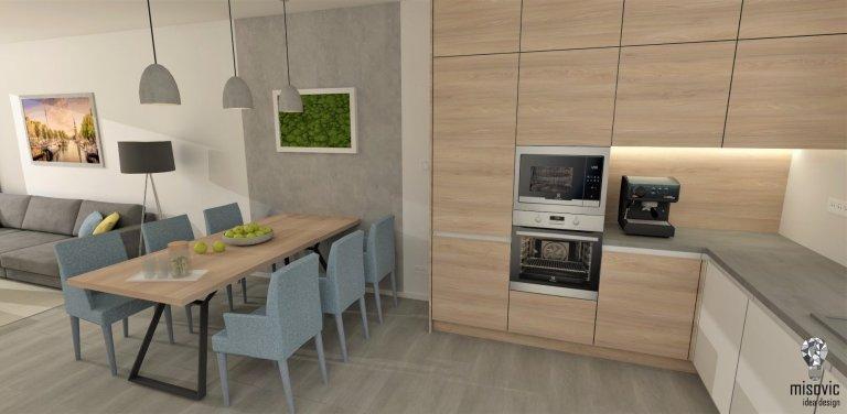 Návrh interiéru rodinného domu v Slovenskom Grobe.  Spolupráca so zákazníkmi prebehla na výbornú a výsledkom je tento pekný interiér. Spojenie nadčasových…