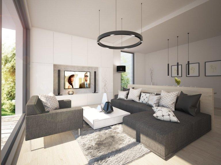 Návrh interiéru moderní vily kousek za Prahou