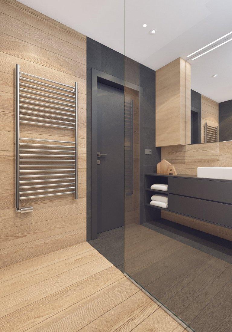 Návrh interiéru bytu pro mladého muže. V interiéru převládá kombinace antracitové barvy s bílou, světlým dřevodekorem a šedou. Doplňkou barvou je tmavě modrá,…