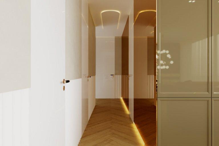Moderný interiérový návrh v rezidenčnom komplexe v centre Bratislavy, bol navrhnutý v modernom štýle v pokojných a vyvážených tónoch, čo klientovi umožňuje…