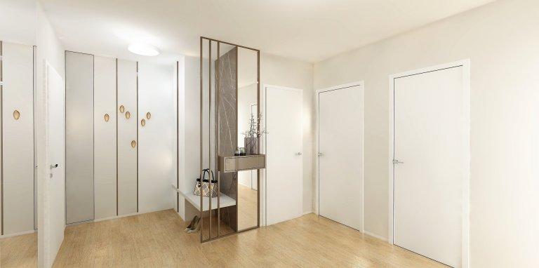 Byt v nejvyšším patře nového bytového domu nabízíkrásné výhledy na Brno. Celý interiér je v jemných, přírodních tónech, Dispozice 3kk je téměř…