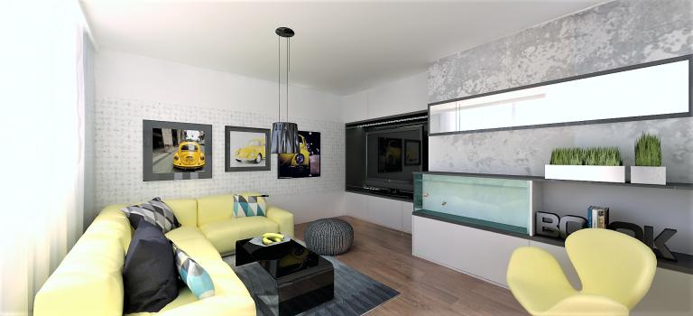 Obývací pokoj v paneláku