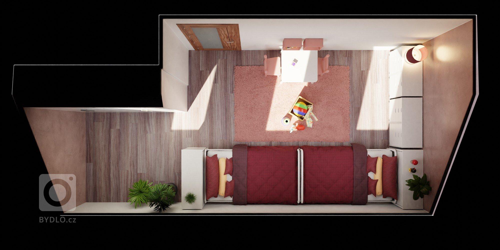 Paní domu si přála navrhnout pokojíček pro dvě dcerky zatím předškolního věku. V plánu je pokojíček zařizovat postupně a vizualizace má sloužit jako plán…