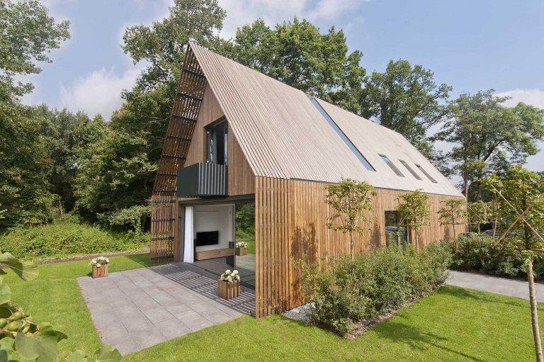 Vzdušný a lehký dům plný světla u lesa