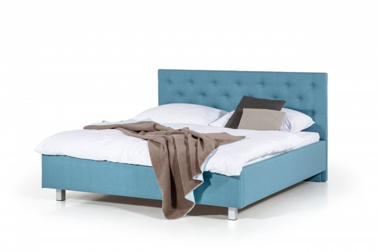 Čalouněná postel s čelem ozdobeným čalounickými vtahy s knoflíky  - stabilní pevná konstrukce - pohodlná výška pro vstávání 45 cm - nastavení úrovně výšky…