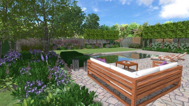 Moderní zahrada s bazénem