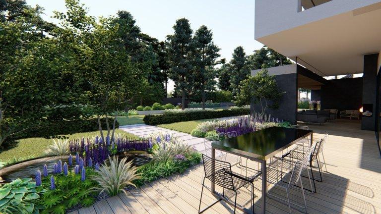 Zahradní koncept u moderní vily