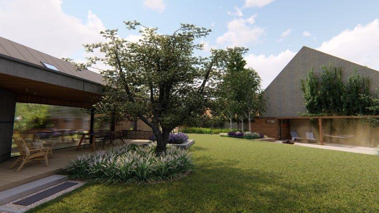 Pozemek, na kterém se nachází nová zahrada, se nachází v malém městečku, které se nachází přibližně 30 km od Prahy v blízkosti přírody. Samotný dům má velmi…
