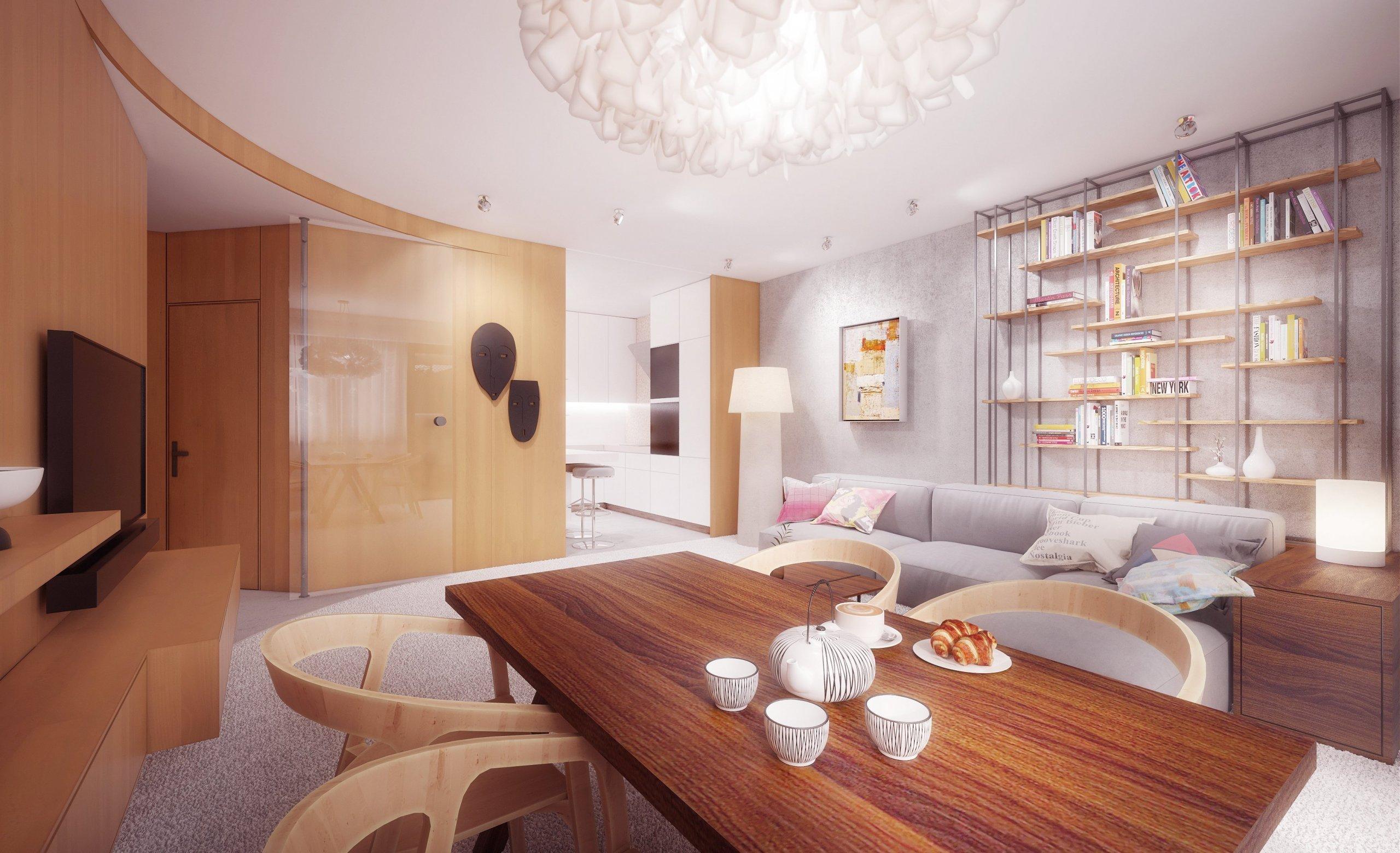 Drobnými stavebními úpravami se nám podařilo vytvořit přirozenou hierarchii místností v bytě. Výhledse otvírá od vstupních dveří přes halu do obývacího…