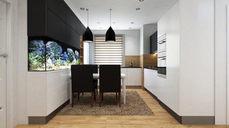 Kuchyně s jídelnou a akváriem