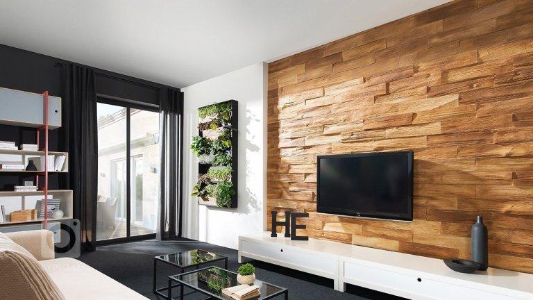 Moderní byt - obklad imitace dřeva