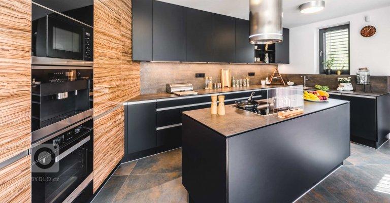 Kuchyně a obývací pokoj s výhledem do lesa