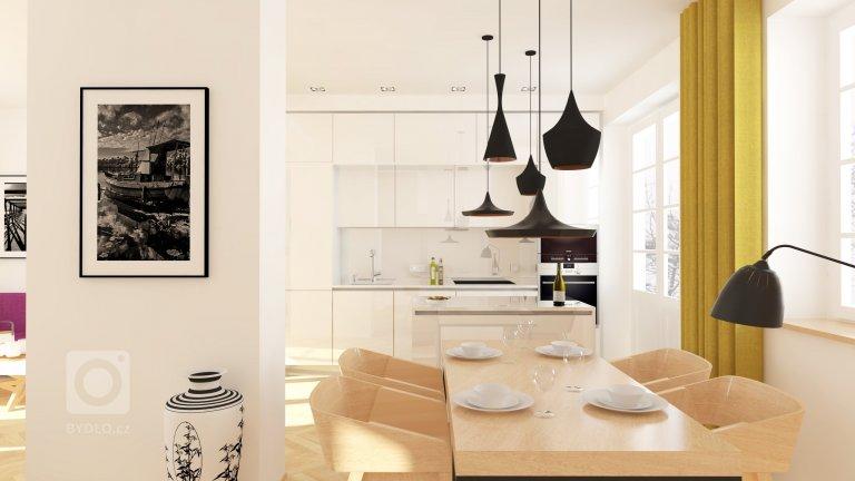 Rekonstrukce řadového rodinného domu - jídelna s kuchyní