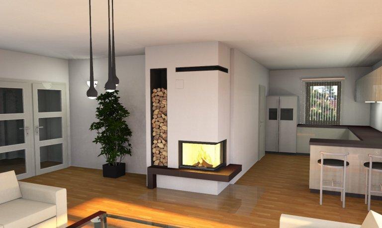 Rohový krb mezi kuchyní a obývacím pokojem