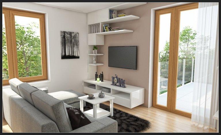 Moderní obývací pokoj pro mladou rodinu